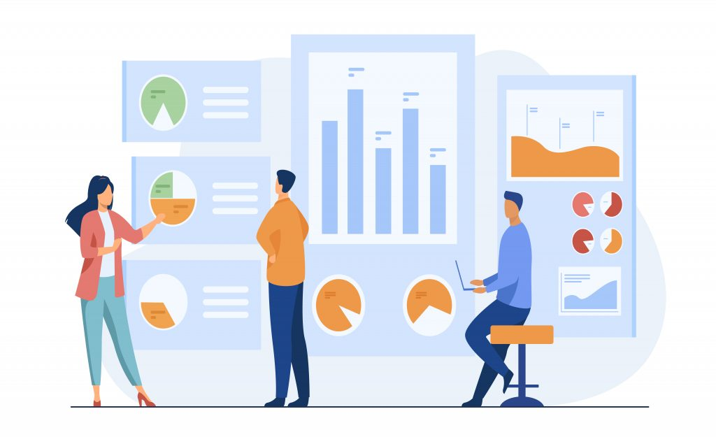 Office workers analyzing and researching business data vector illustration. Marketing analysts developing strategy. Business people studying infographics and diagrams on dashboard (c) freepik