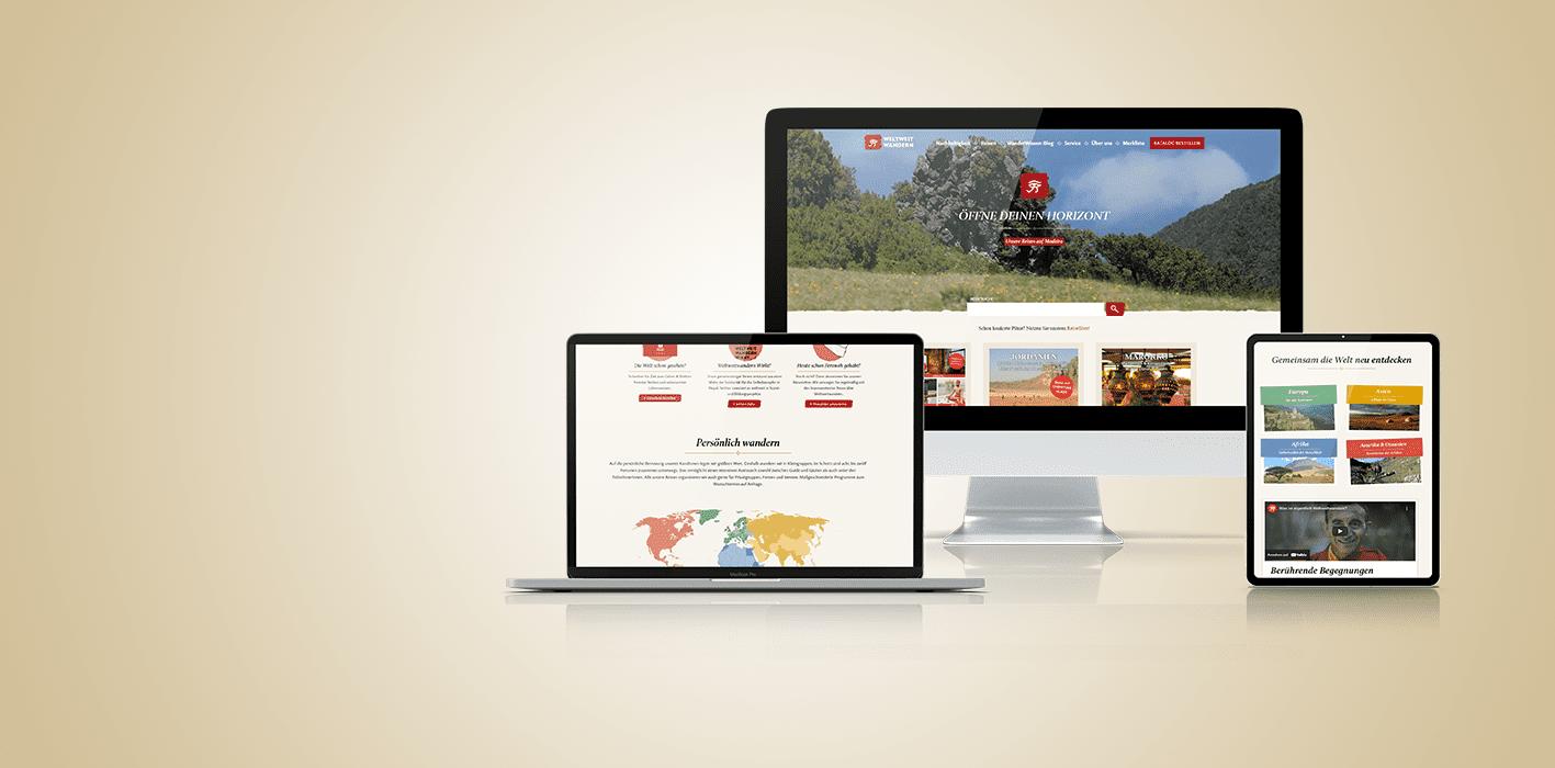Darstellung von mehreren Devices; Desktop, Tablet, Laptop, Website von Weltweitwandern als Inhalt